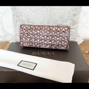 Gucci Broadway Python Crystal Embellished Clutch